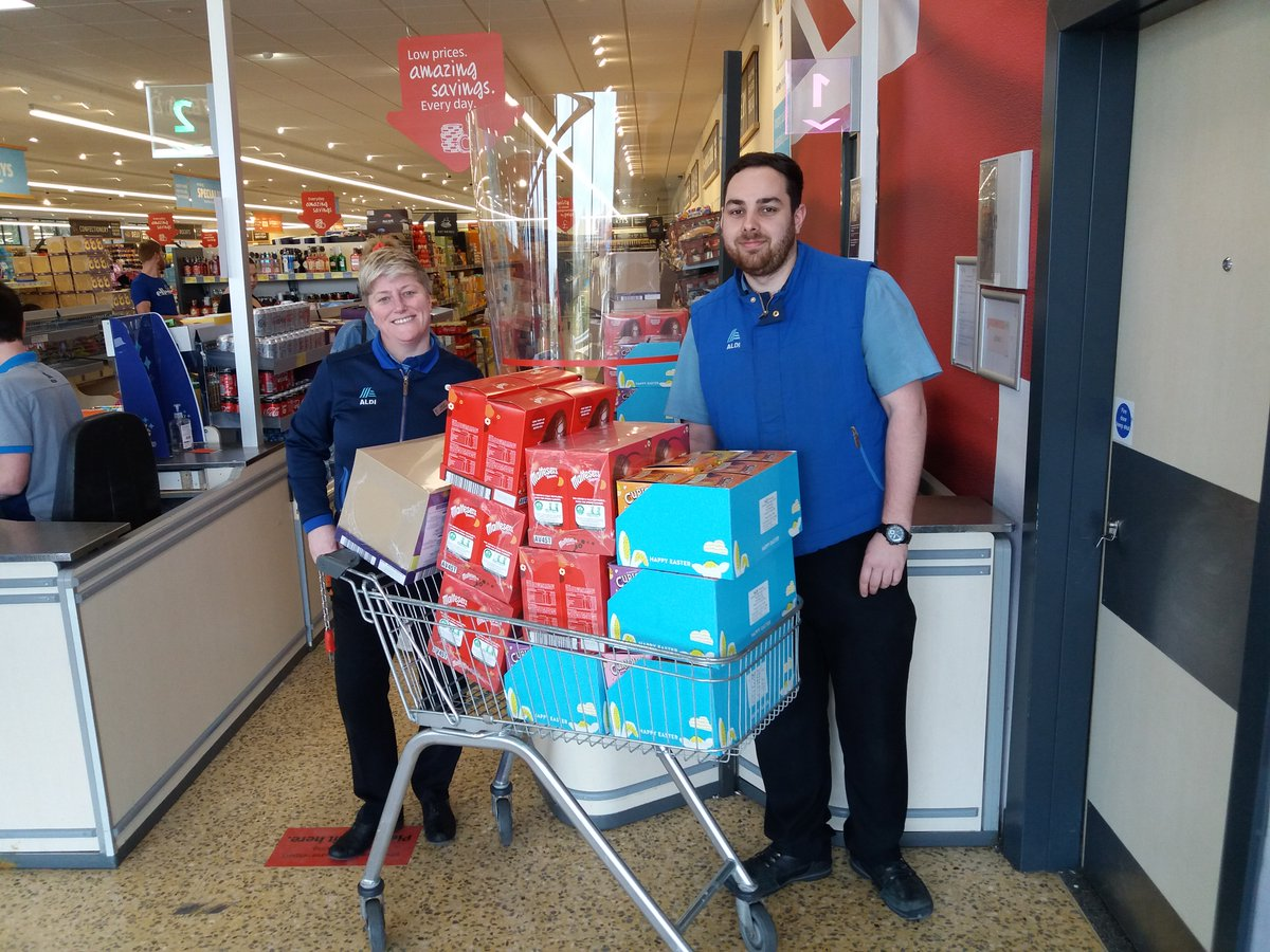 Happy Good Friday! Thank you to @AldiUK  Fawdon who donated 100 Easter Eggs to provide to families we support currently in isolation or experiencing extreme poverty. Huge thank you to Hayley & Sam Peel for taking the time from their busy day to present them to us.pic.twitter.com/raNWoBGCP3