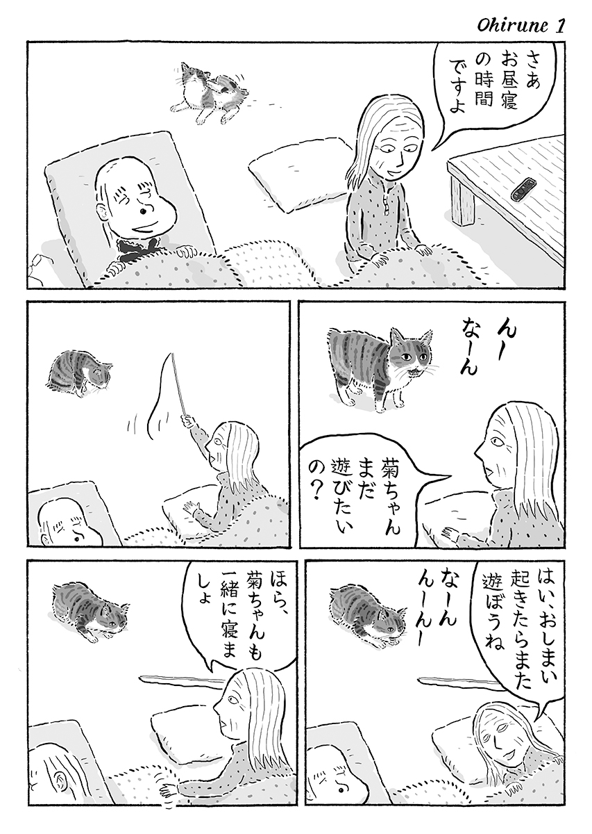 2ページ猫漫画「みんなでお昼寝」 #猫の菊ちゃん