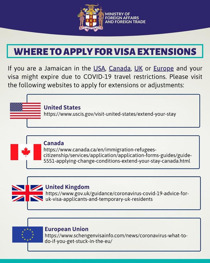 Are you a Jamaican in the US,Canada, UK or Europe whose #visa might expire because of covid19 travel restrictions? Please visit these websites to apply for an extension as there is no blanket waiver. Please also contact your Embassy or Consulate if you need help. #Covid19Jamaica https://t.co/iXXETC0pIJ