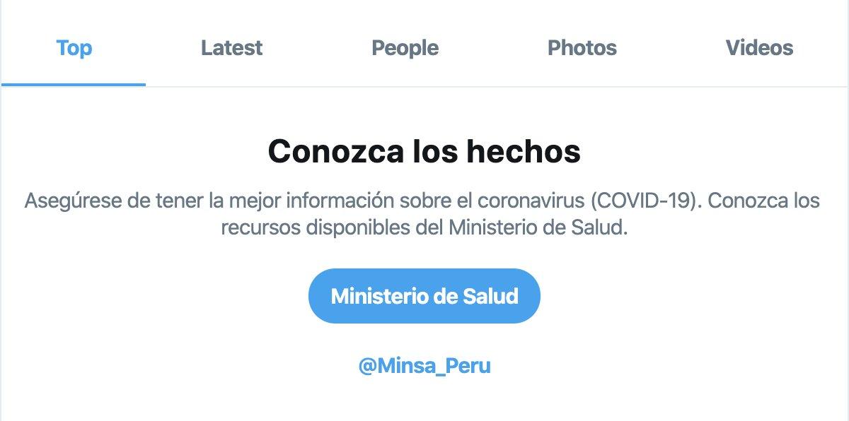 Ya están activados los avisos localizados de búsqueda relacionados a COVID-19 en Perú. Gracias al @Minsa_Peru por su colaboración.