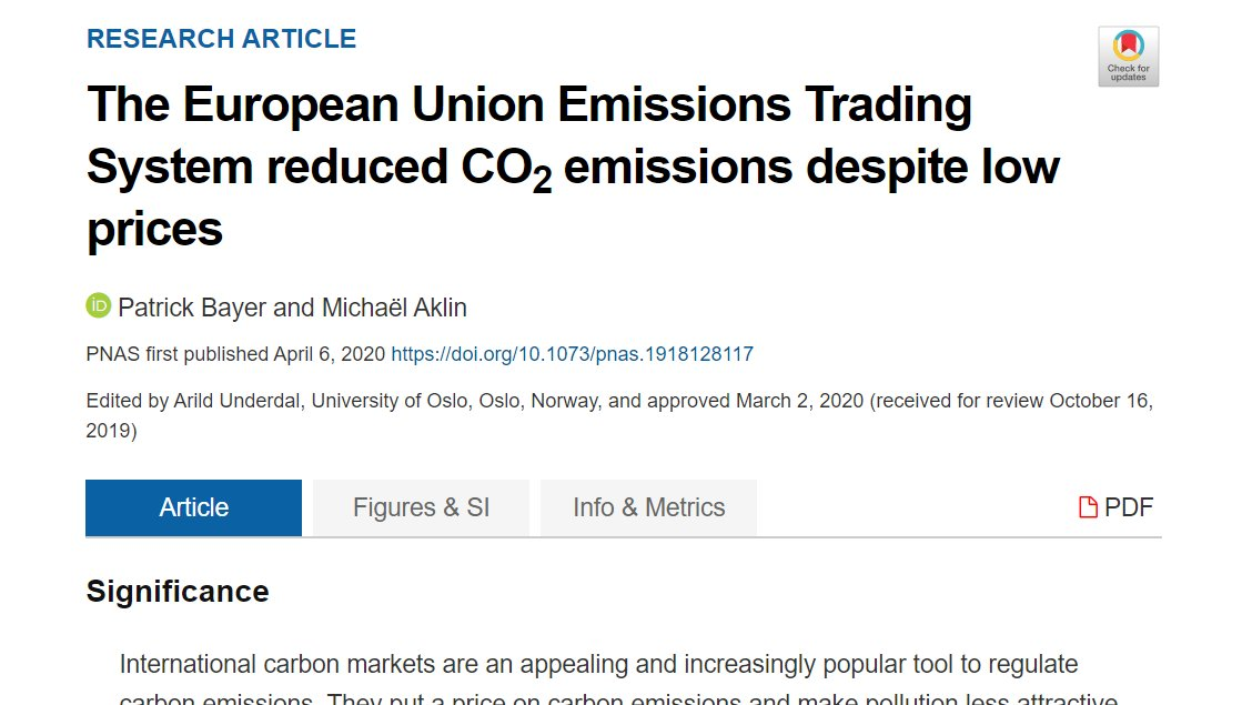 Coincidentally, a very related paper also in  @PNASNews, published just a few days before by  @pol_economist &  @MichaelAklin, shows that carbon pricing is indeed working - even if  #CO2 prices are low! /bonus https://doi.org/10.1073/pnas.1918128117