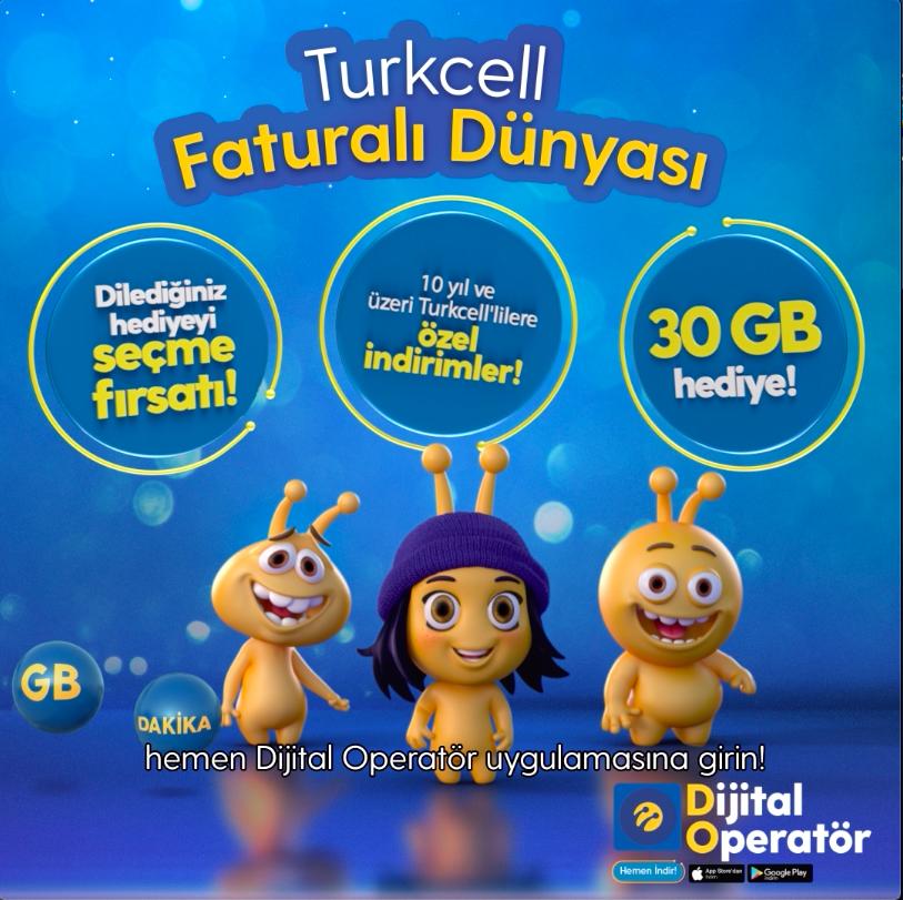 """TURKCELL on Twitter: """"Turkcell faturalı dünyasına geçmenin tam zamanı!  Faturalı dünyasına geçen tüm Turkcell'liler, ilk ay 30 GB'a kadar internet  ve Dijital Operatör'de Hediye Havuzu'ndan dilediği hediyeyi seçme fırsatı  kazanıyor. https://t.co ..."""