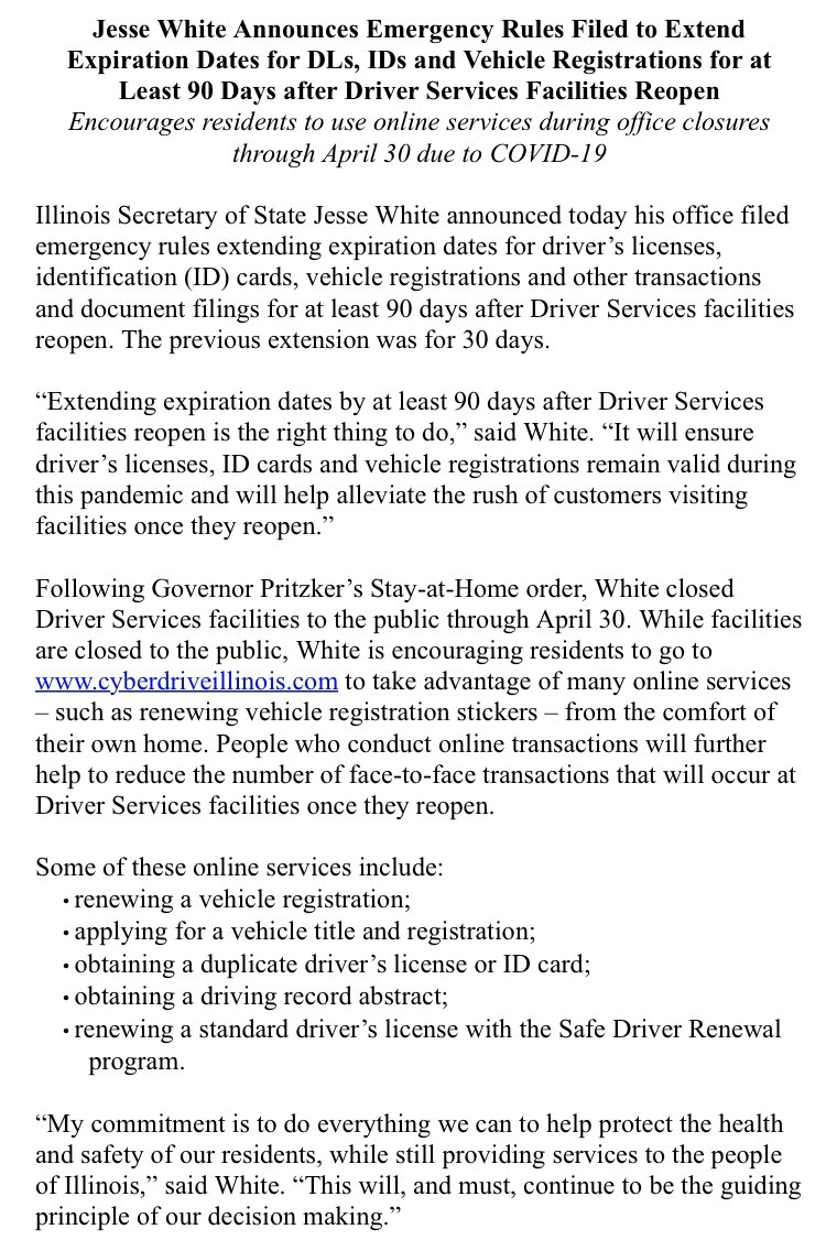 "Hannah Meisel on Twitter: ""You now have an extra 90 days (no longer just  30) to renew those Illinois drivers licenses and vehicle registrations due  to new emergency rules from @ILSecOfState… https://t.co/pjr1H7poNq"""