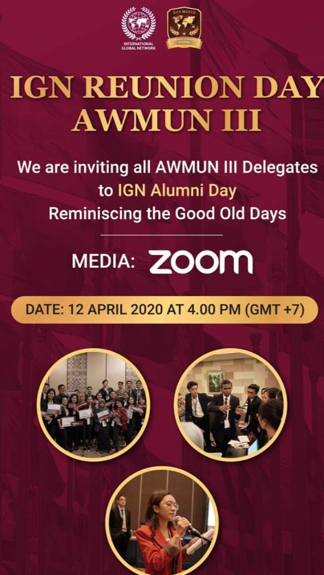 I see FIFA 20, Somizi and 1 GB data are trending, well this shall trend too.  IGN Reunion day AWMUN III  We are inviting all AWMUN III Delegates to IGN Alumni day reminiscing the good old days.   Date: 12 April 2020  I went to AWMUN last year in Bali Indonesia.   #AWMUN https://t.co/ZrbWgTM3CD