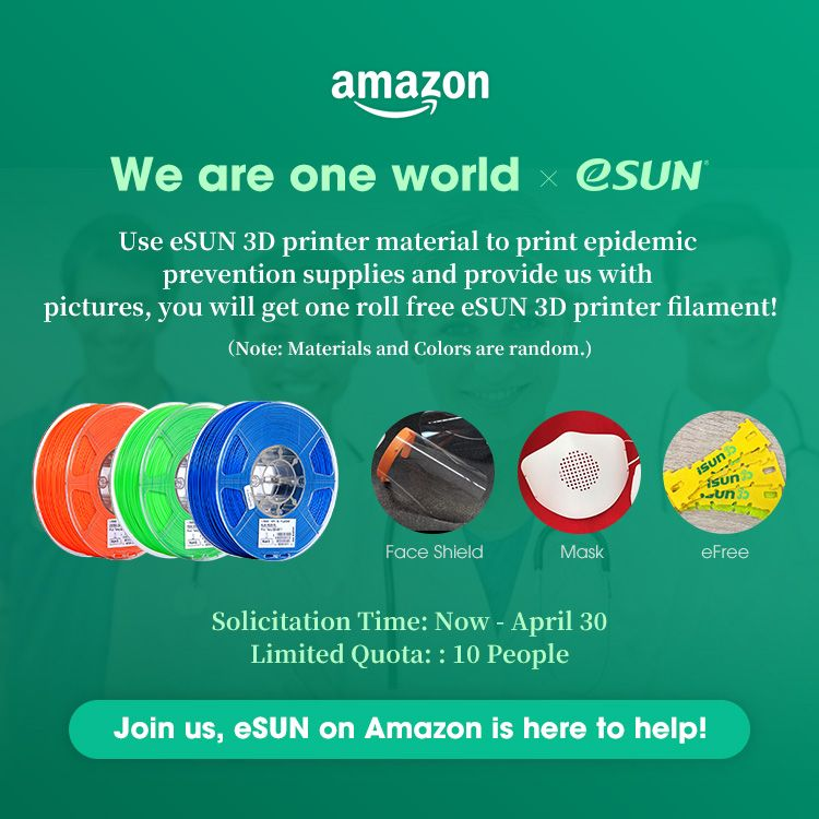 Win 1 roll of random filament from eSUN #Amazon #Europe Store! Comment with your location, pictures of epidemic prevention supplies you print with #eSUN filament, we will randomly choose 10 people in Europe by the end of April 30th.  Join now on Twitter, Facebook or Linkedin.