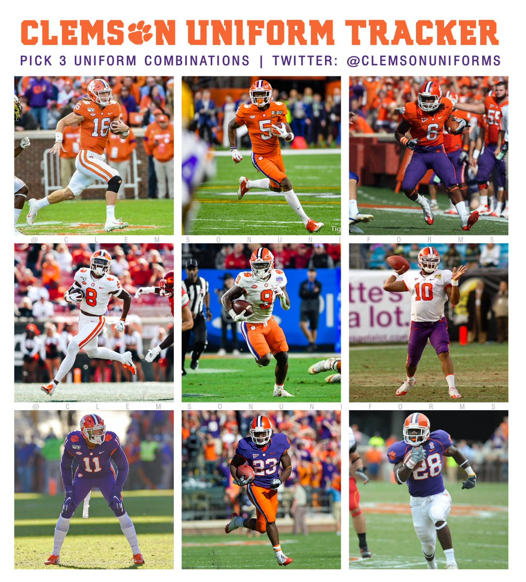 Clemson Uniform Tracker On Twitter For Those Wondering Each Picture Is From The Last Game Clemsonfb Played Wearing That Uni Combo The Other Five Sets Were Worn In 2019 White