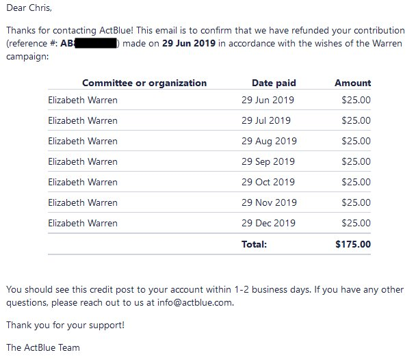 @JamesMa96163439 @NewBegi54516996 @thetracymarks @TheDemocrats It would take less time to simply search #RefundWarren, see the actual refund receipts than to propose an alternate, hypothetical reality.  ActBlue, says Bernie's campaign must direct them who/what to refund.  @SenSanders campaign has not responded to my request 2 days ago. https://t.co/86Q1GA934B
