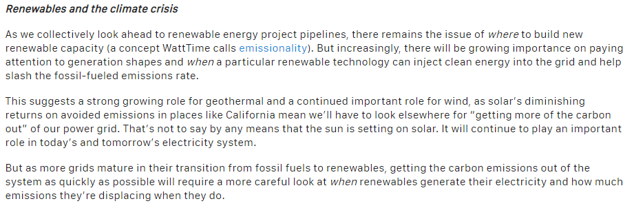 12/This also highlights the need for new resources. Storage isn't a tomorrow problem, it's a now problem. And diversifying renewable supply with more wind and geothermal can help clean up those dirty evening and nighttime hours. Good conclusion from  @WattTime below. END