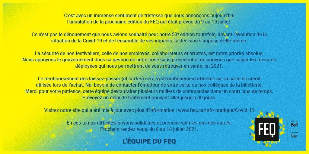Musicfestivalwizard On Twitter Quebec City Summer Festival Cancelled For 2020 Has Dates For 2021 Https T Co Jpmkrdynkm