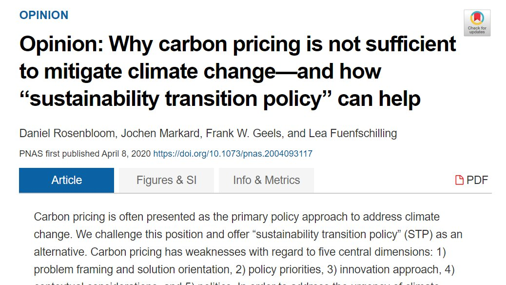 """My dear colleague  @JochenMarkard & friends publish a compelling piece in  @PNASNews arguing """"Why  #carbon pricing is not sufficient to mitigate  #climate change""""They review 5 dimensions where a  #sustainability transition policy is needed (mini-thread)/1 https://doi.org/10.1073/pnas.2004093117"""