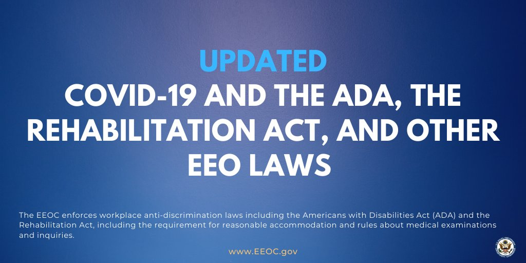 EEOC's updated #COVID19 document provides additional responses to workplace-related FAQ. eeoc.gov/eeoc/newsroom/…