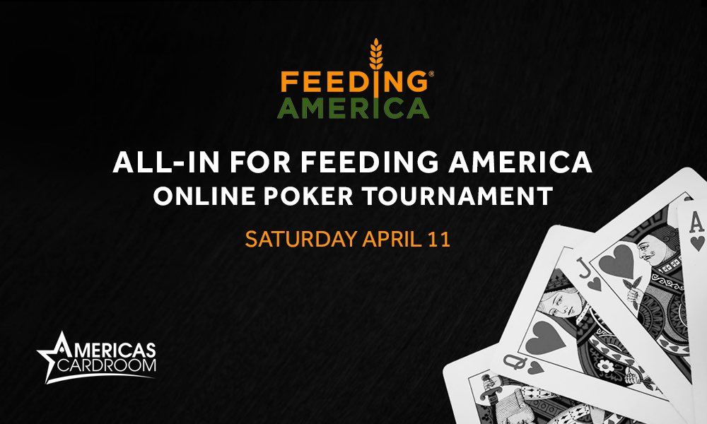 Excited to announce that I have joined forces with @FeedingAmerica to raise money for folks who need it most. Join me and some familiar faces as we face off in a friendly online poker tournament. Watch live tomorrow from 11am PT. 100% of proceeds benefit Feeding America. https://t.co/im3cuWYsCD