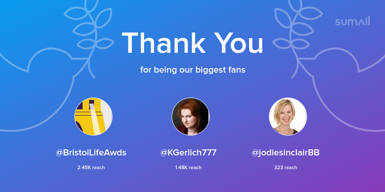 Our biggest fans this week: BristolLifeAwds, KGerlich777, jodiesinclairBB. Thank you! via https://t.co/31nO92kIV9 https://t.co/9cn2dizjYq