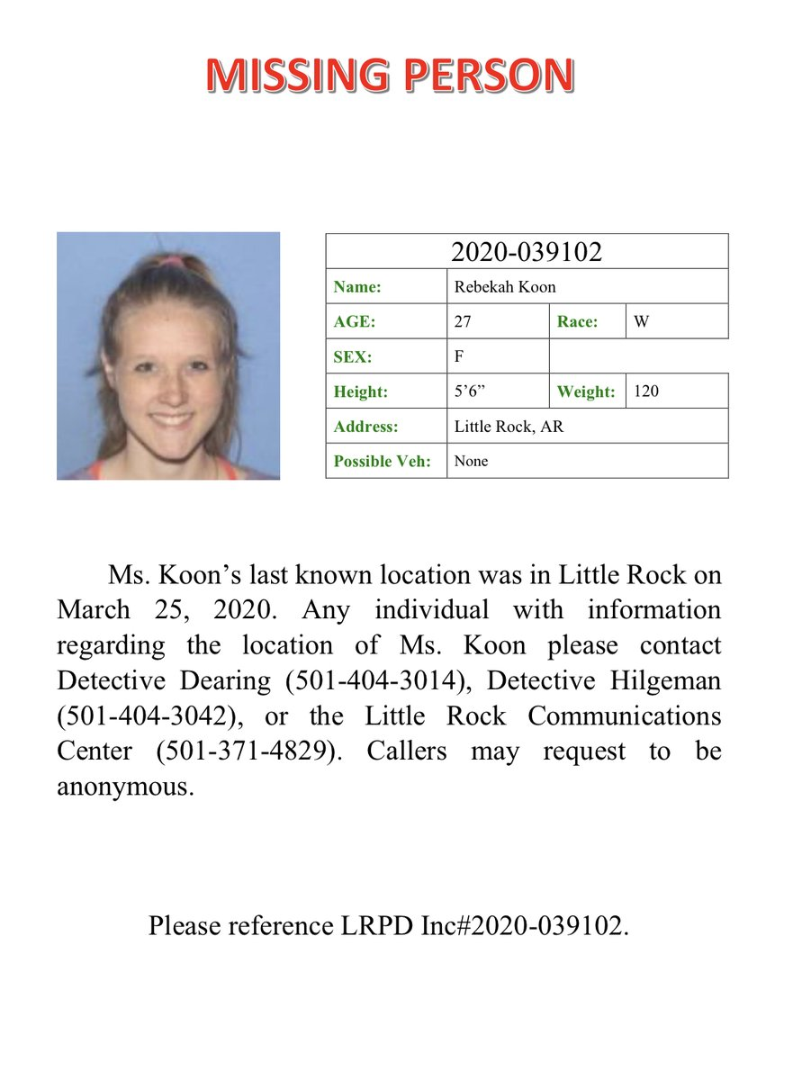 Help us locate Ms. Koon . If you have any information about her  whereabouts, please contact detectives at 501-404-3014 or 501-371-4829. Thank You! https://t.co/Uz4SGfsQSv