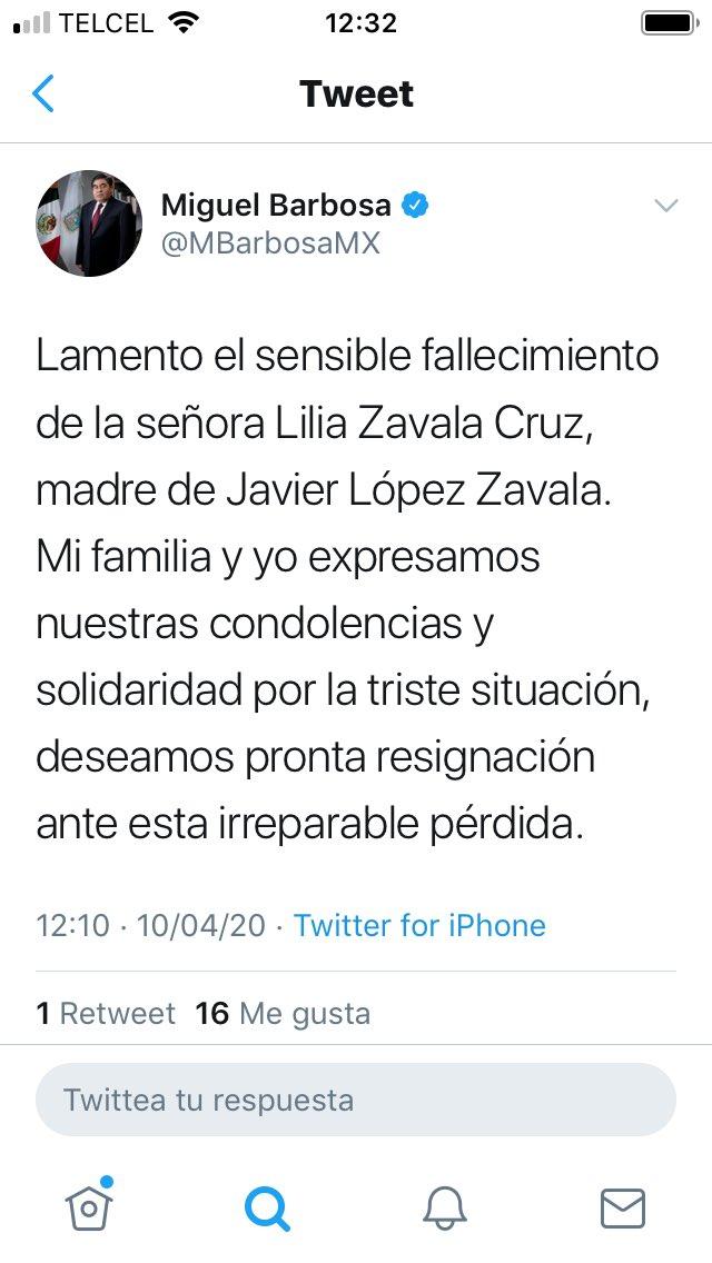 Oootra pifia enorme de quienes manejan la cuenta del gobernador @MBarbosaMX en Twitter. Ahora mataron a la mamá de @JavierLZavala2. En realidad quien falleció fue su papá https://t.co/p6hs38kd6B Eso les pasa por no leer La Corte de los Milagros 😂😂😂 https://t.co/d9MK4fz5CX