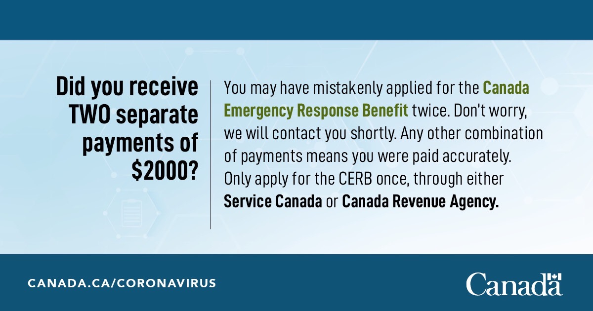 Service Canada On Twitter Information For Individuals That Received Double Canada Emergency Response Benefit Payments Https T Co Cbbrde0dsk Cerb Economicresponse Covid19 Canrevagency Https T Co Yteygxyxei