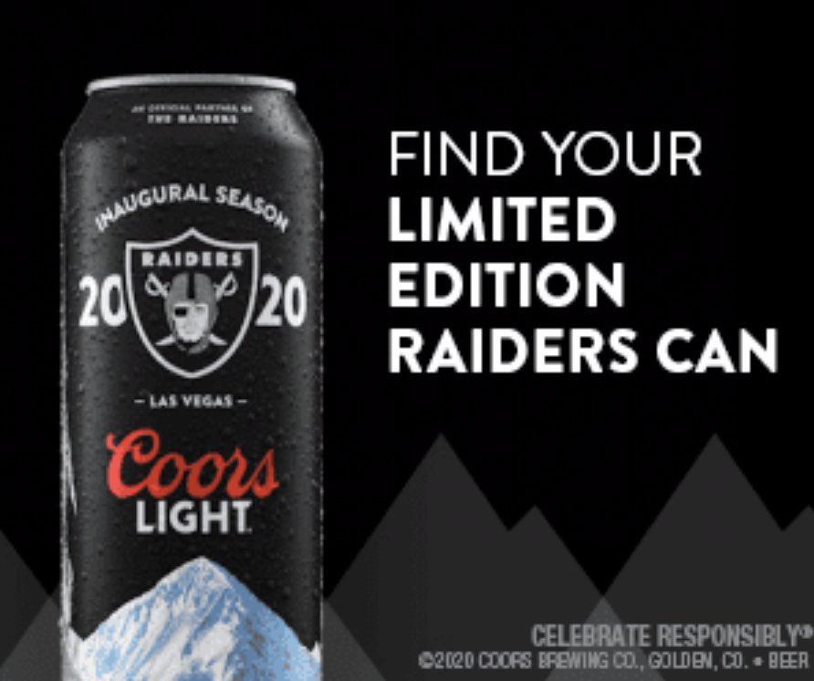 1 LAS VEGAS RAIDERS  INAUGURAL 2020 Coors Light Beer Can Emptied