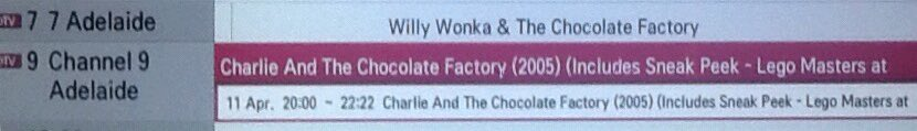For the #Kids and #BigKids  there is a Huge #OverDose of #CharlieAndTheChoclateFactory or #WillyWonkaAndTheChoclateFactory the one this #BigKidLoves is the #Original  @Channel9 has the #NewVersion @Channel7 not sure so #DoubleCheck on about the same time #LOVEDTHEBOOK ENJOY ALL https://t.co/2ASCw0uB7z