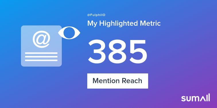 My week on Twitter 🎉: 13 Mentions, 385 Mention Reach. See yours with sumall.com/performancetwe…