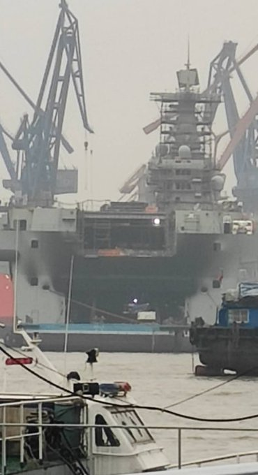 Aftermath of fire aboard Type 075 LHD