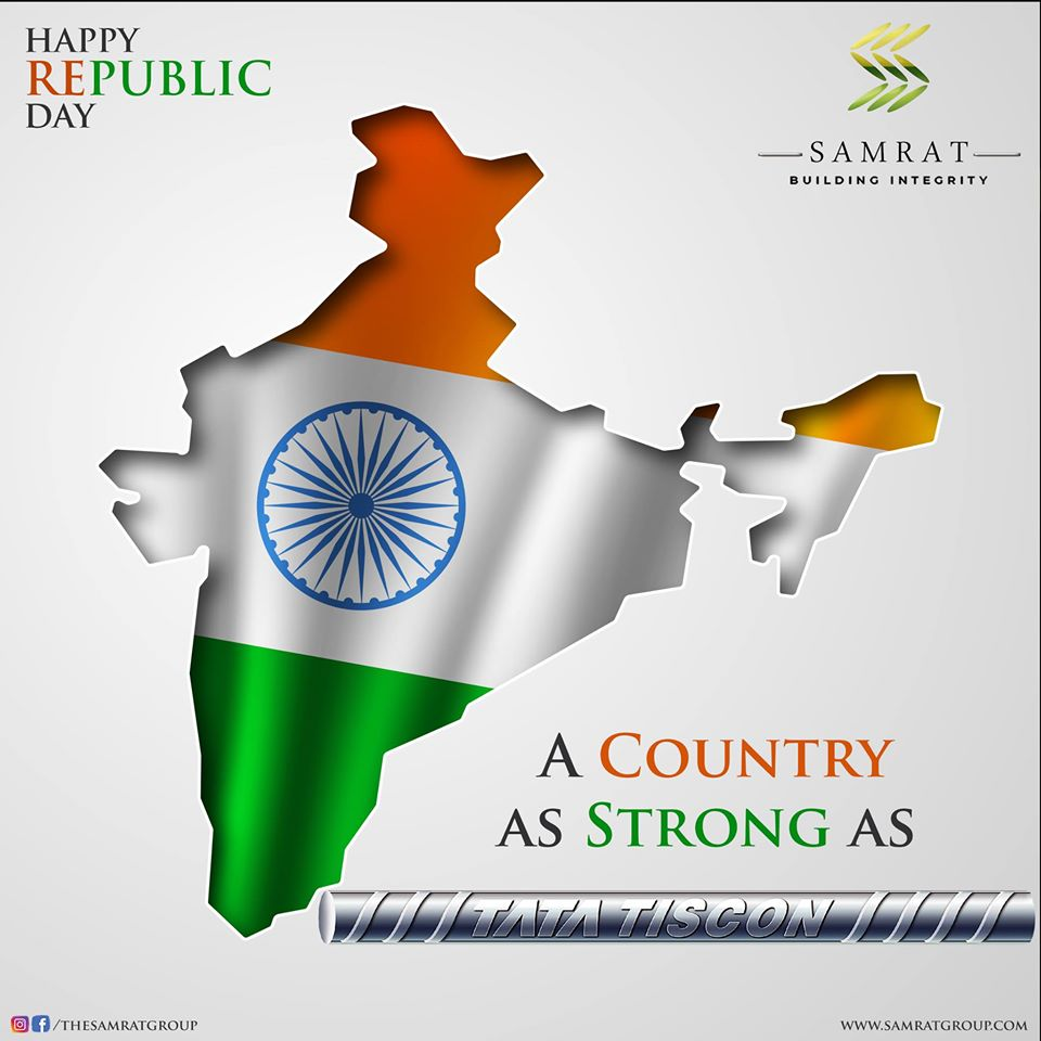 #RepublicDay #RepublicDayIndia #Democracy #Constitution #Perfection #Strong #SamratGroup #BuildingIntegrity  Happy Republic Day🇮🇳 A Country as Strong as Tata Steel  Now ordering and getting steel is just a click away on Tata Steel Aashiyana. https://t.co/7Rgond2rog https://t.co/Oz6Hq4kaqO
