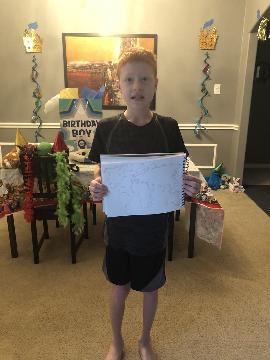 This is my son, Brandon. Today is his 12th Birthday. I can't give him the party he deserves but Brandon loves geography. He would love it if you would RT or reply where you are so he can mark it on his map.