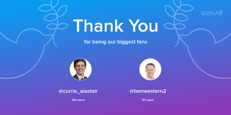 Our biggest fans this week: currie_alastair, benwestern2. Thank you! via https://t.co/31nO92kIV9 https://t.co/MzosQcPXvG