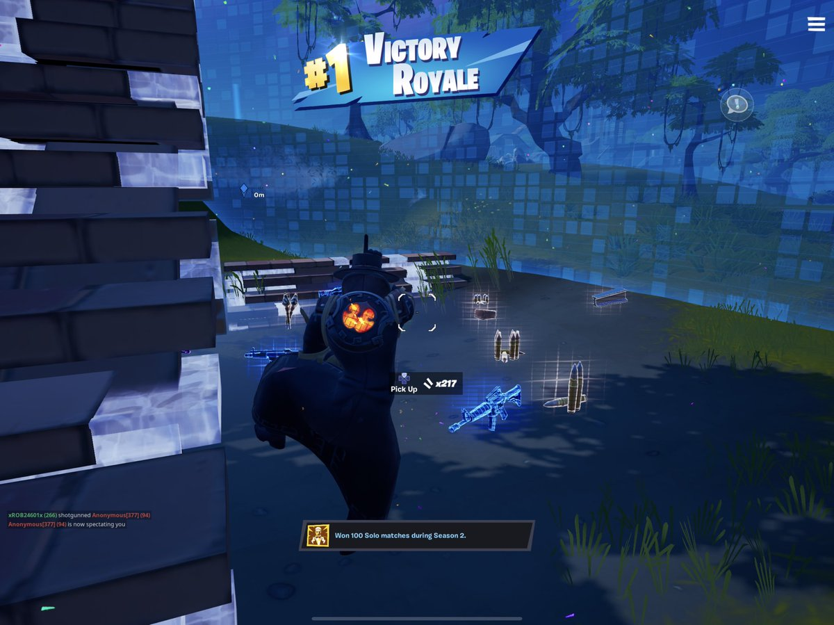 100 solo wins in season two achievement unlocked today.  I may still be a bot but I've come a long way from one no kill solo win in season 2.  What can I say?  It's a hard bot life.  @FortniteGame @StonewallTabor #hardbotlife #fortnite #FortniteBR #FortniteBattleRoyale #epicgamer https://t.co/etstJvlY3m