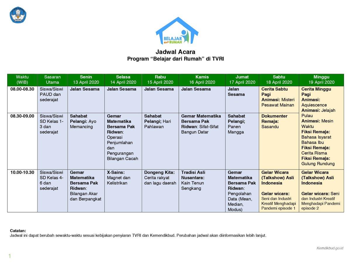 Jadwal acara program #belajardirumah dari TVRI bekerjasama dengan @Kemendikbud_RI cek disini ya  #BersamaLawanCovid19