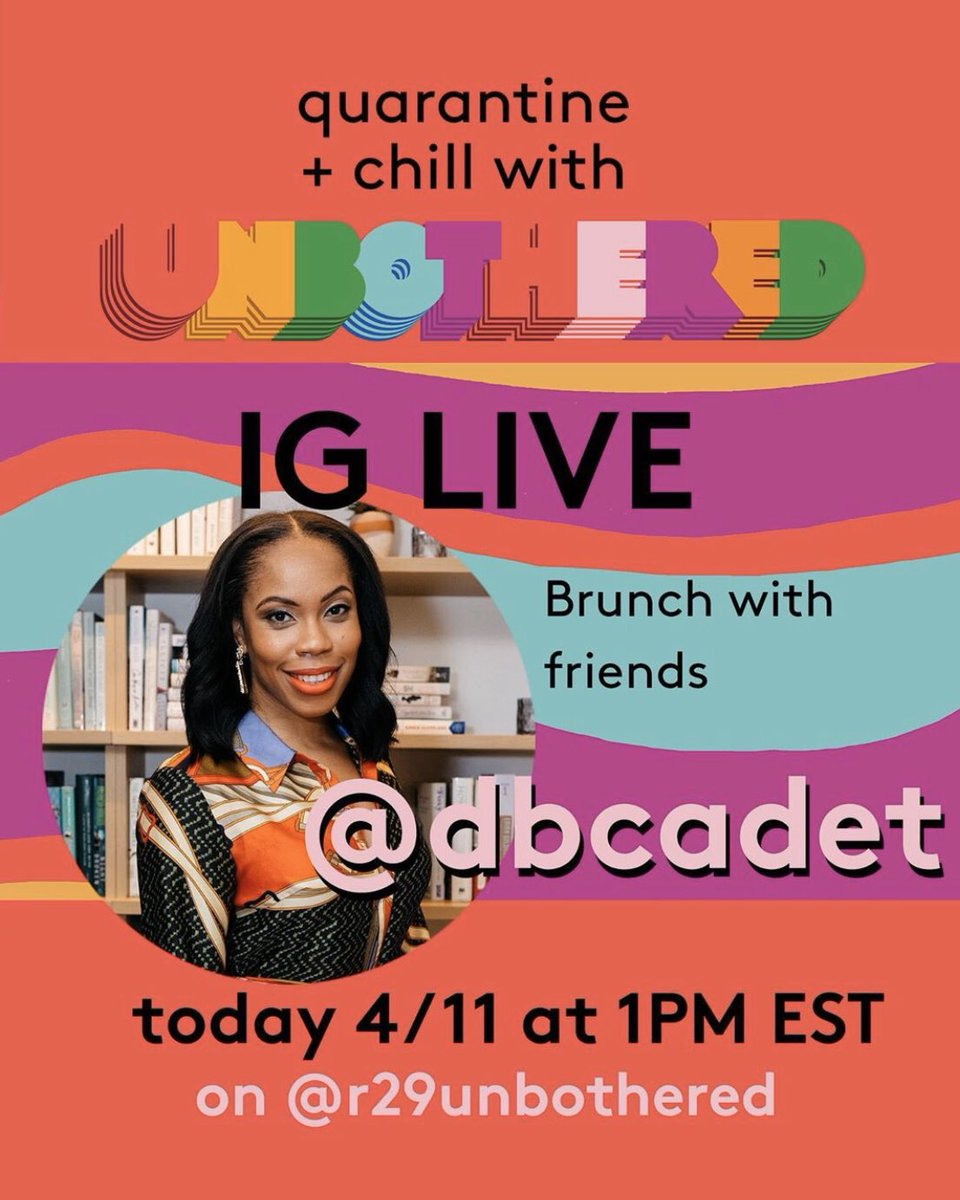 gonna be live on #r29unbothered around 10:35am PT/1:35pm ET. @danamo on at 1pm ET! @dbcadet <3