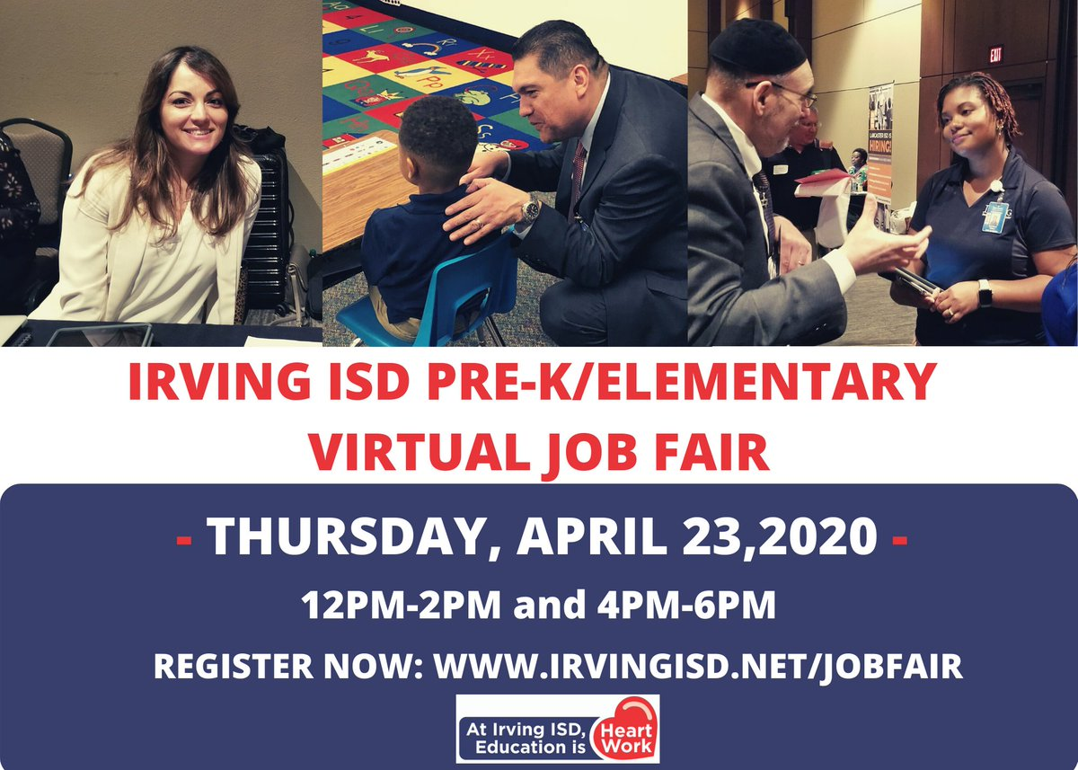 Register now for @irvingisd Pre-K/Elementary Virtual Job Fair! Visit irvingisd.net/jobfair to register!