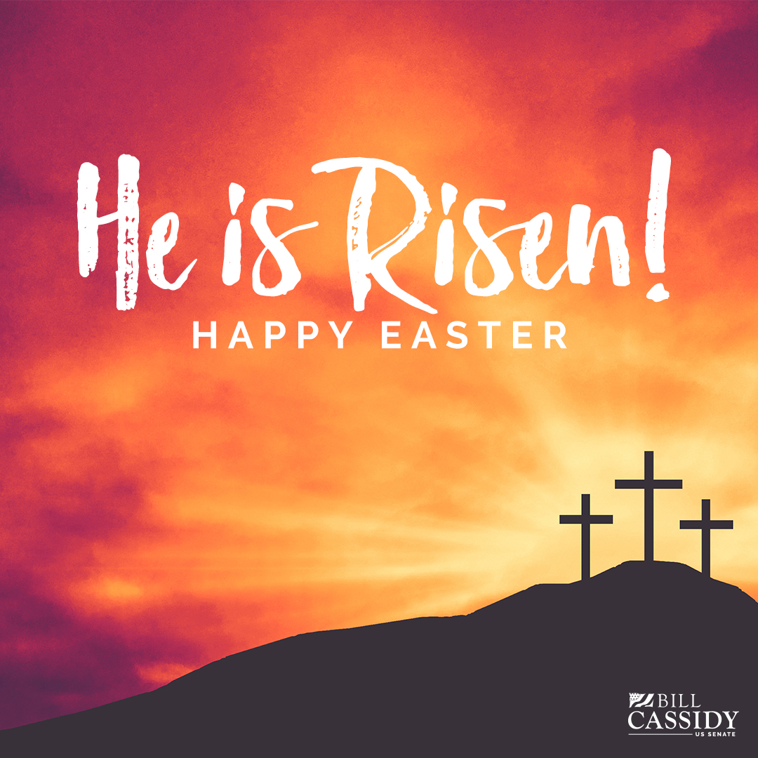 Laura and I hope everyone has a safe and happy Easter. Give thanks to the Lord because he has Risen!