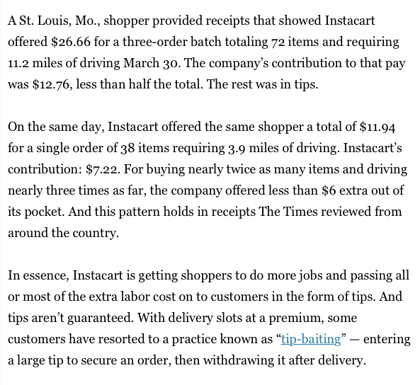 Instacart is making more money than ever during the COVID-19 quarantine. But they've done everything in their power to make sure the gig workers exposing themselves to disease don't get higher pay as a result, including paying them $12 for 3 hours of work: https://t.co/vzLXf6SxnO https://t.co/8LnXq5suHJ