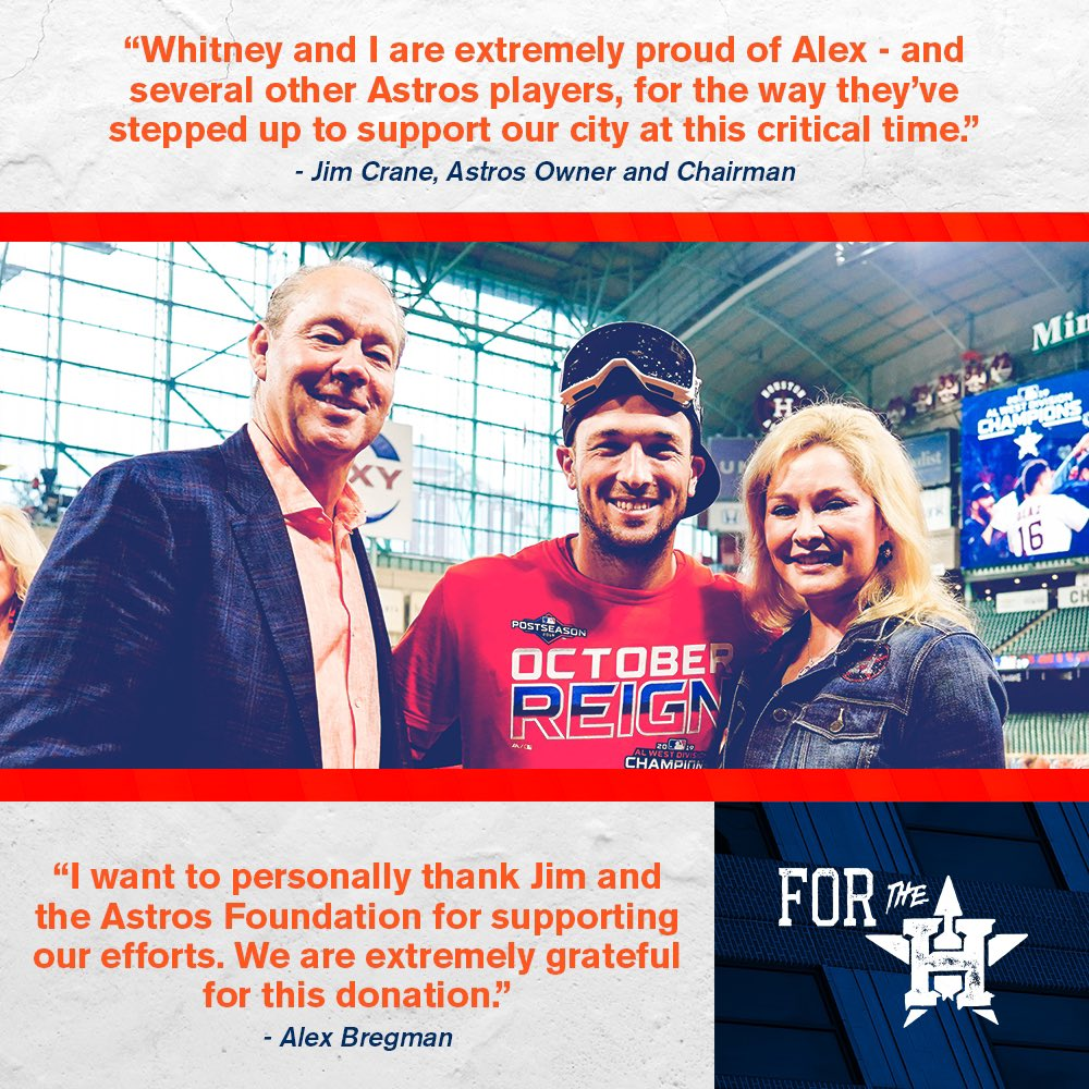 The #AstrosFoundation has pledged a $100,000 donation to @ABREG_1's FEEDHOU fundraising campaign, benefitting the @HoustonFoodBank.  To donate visit: https://t.co/qRMyroAfjB  #ForTheH https://t.co/Qofo1vBaUS