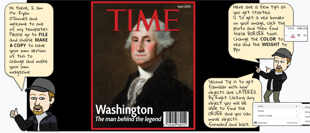 Spent some time (get it) updating my TIME magazine template. It now has OD tips & ideas throughout the slide deck to help guide teachers/students. Feel free to make a copy & share docs.google.com/presentation/d… #GSuiteEDU #GoogleEDU #WeAreCUE @TIME Please share back student examples!