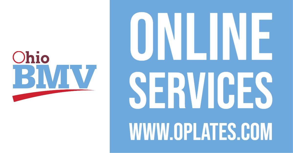 Blue graphic with the words Online Services, www.oplates.com and the BMV logo