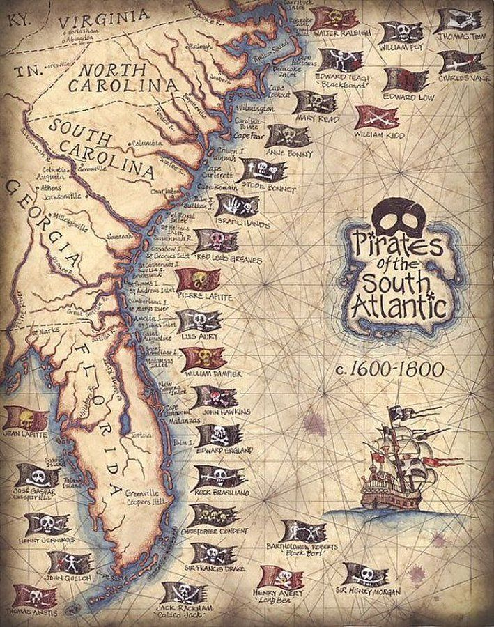 Way before the US became independent pirates threatened the east coast. Map shows most important pirate flags. Source: https://t.co/BuEVAJDSHX https://t.co/VzGEtBpHia