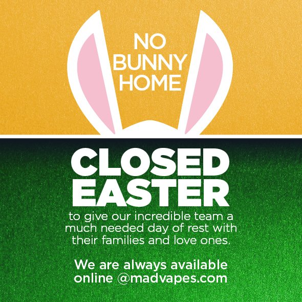 Madvapes On Twitter All Of Our Stores Will Be Closed Tomorrow For Easter You Can Still Shop Online At Https T Co 1vhzm5qck1 It looks like madvapes is trying to clear out some of their older inventory before the new year. twitter