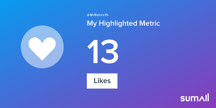 My week on Twitter 🎉: 1 Mention, 13 Likes. See yours with sumall.com/performancetwe…