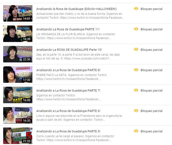 RIP videos de la Rosa, me bloquearon casi todos los episodios en México, creo que aún pueden verlos algunos seguidores fuera del país, en fin, fue bonito mientras duró, chale.