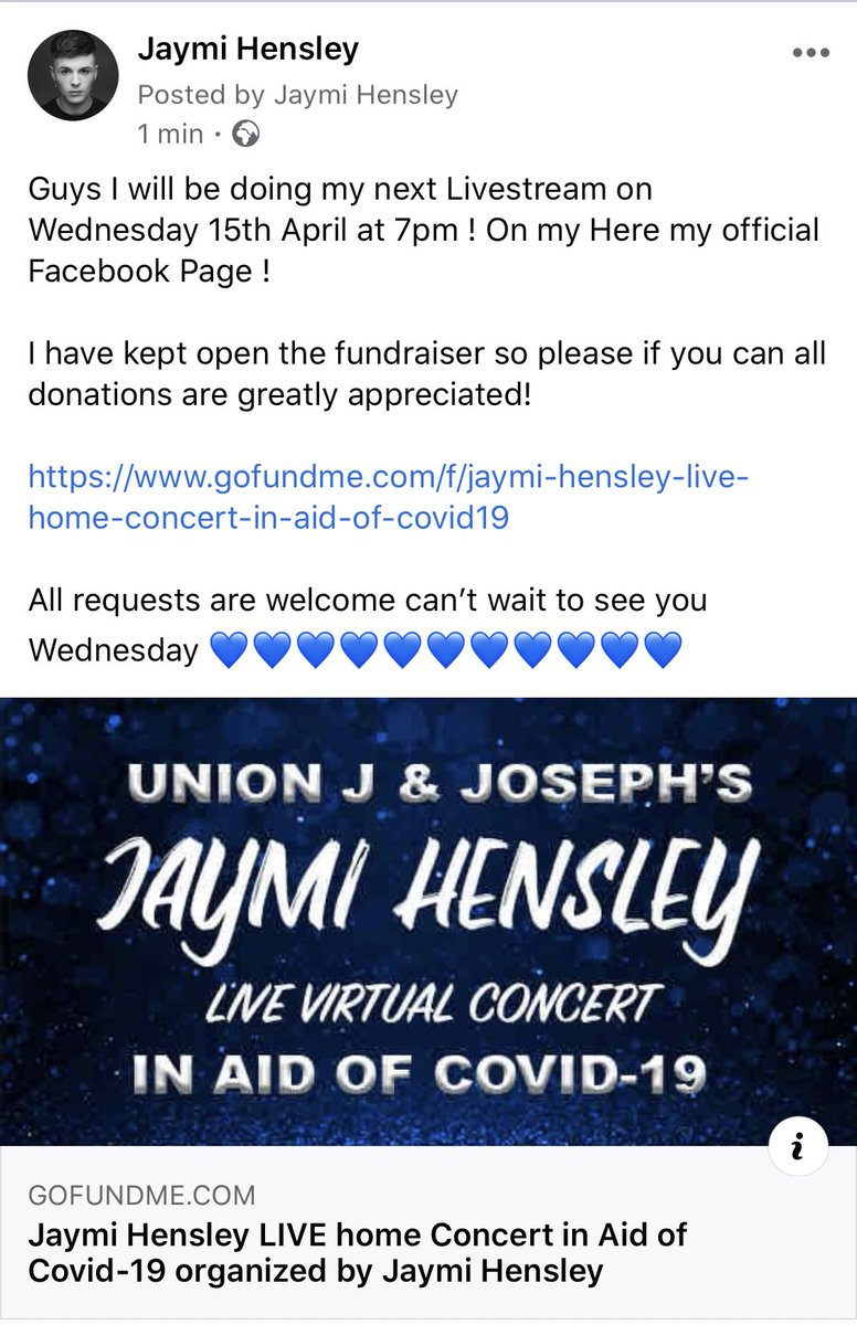 Guys my next livestream concert will be this Wednesday 15/4 and 7pm 💙💙💙💙💙 https://t.co/HPtVtbTMKM