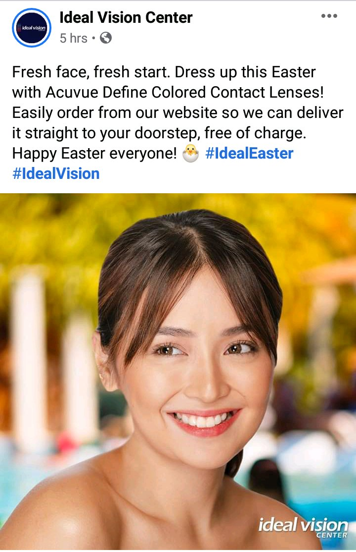 """""""Fresh face, fresh start. Dress up this Easter with Acuvue Define Colored Contact Lenses! Happy Easter everyone! 🐣 #IdealVision""""  Engage ⬇ DO NOT REPOST FB https://t.co/VIVQ6xH7Rq IG https://t.co/UskdhKD0Nb @bernardokath @min_bernardo #KathrynForIdealVision #KathrynBernardo https://t.co/VBgeUUqy5p"""