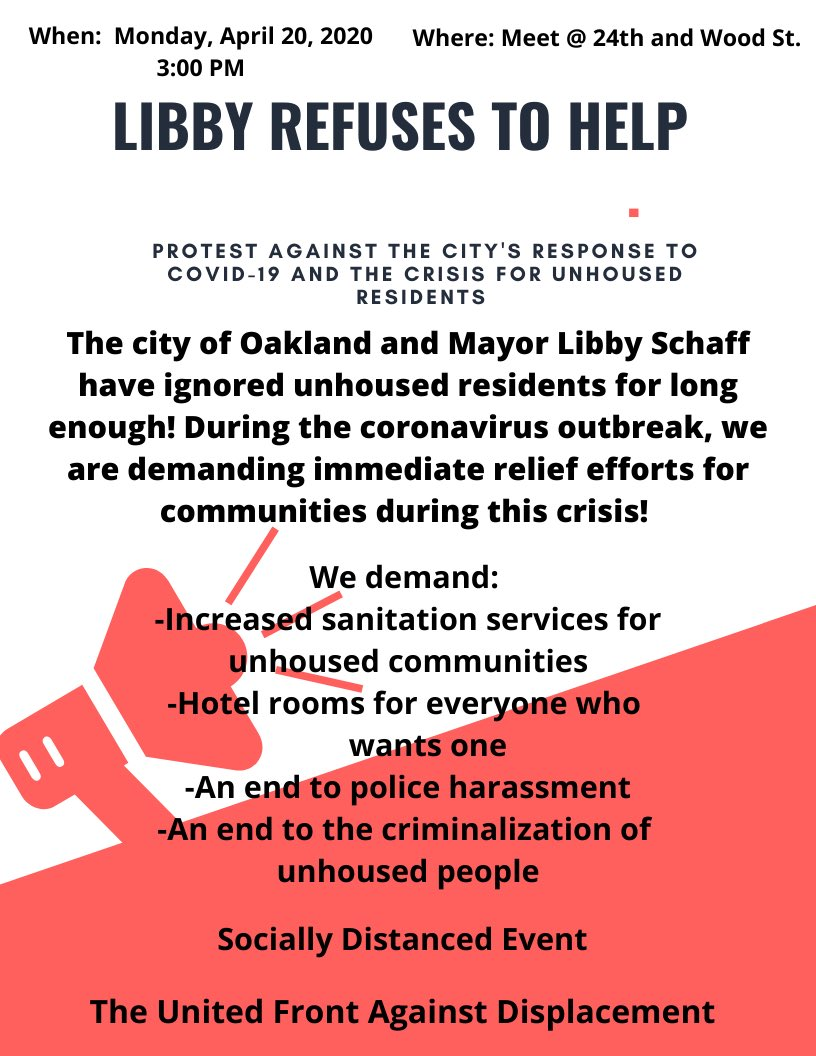 Protest Oakland's Response to Covid-19 for Unhoused Residents @ In your vehicle!