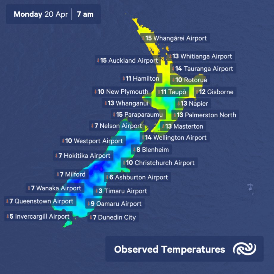Morena   Single-digit minimum temps for most of the South Island this morning, normal for Autumn When everything else is Business As Unusual, good to know the weather is as it should be. Check out this week's weather for your town at bit.ly/metservicenz ^MM https://t.co/YHL4fGXeZC