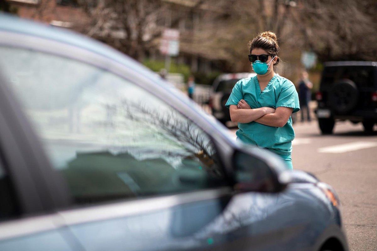 "Scott Loy on Twitter: ""Nurses blocking cars in Downtown Denver to ..."