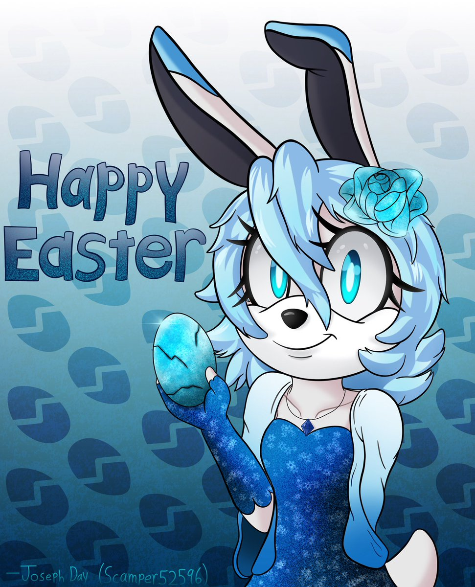 Happy Easter! Drew a postcard featuring a cute bunny OC that I adopted from a friend some time ago. Crystal specializes in ice sculpting, so she's handing out ice eggs today. 😁🥶