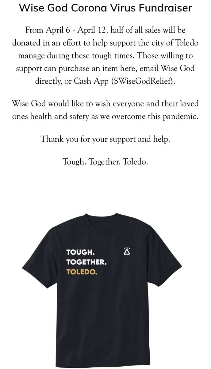 LAST DAY! Let's raise money for Toledo! Get your shirt here ⬇️⬇️⬇️ wise-god.com