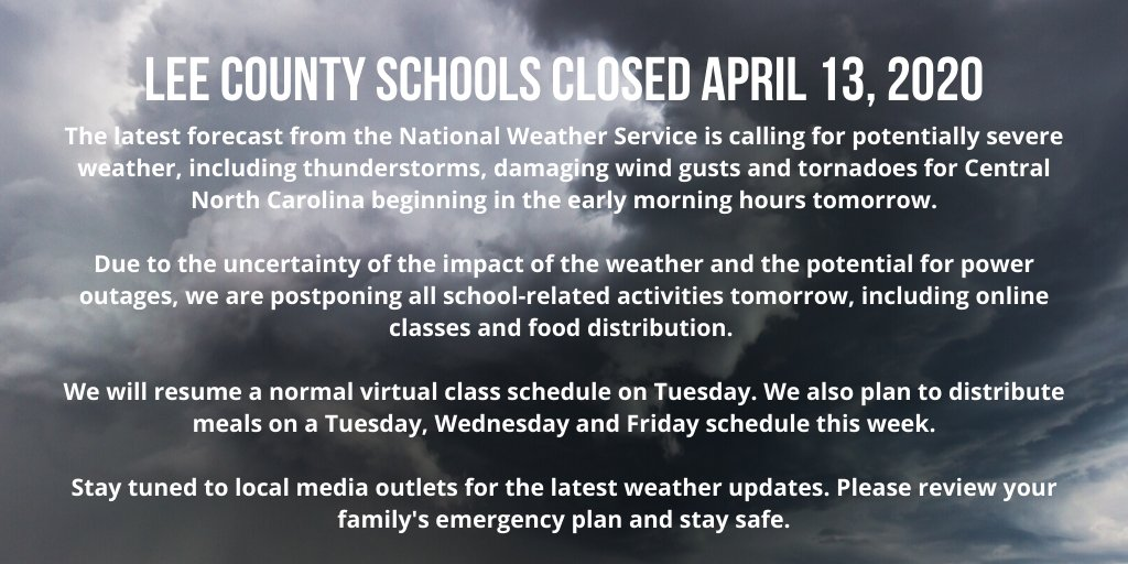 Due to the uncertainty of the impact of the weather and the potential for power outages, we are postponing all school-related activities tomorrow, including online classes and food distribution. https://t.co/w10CmN383d