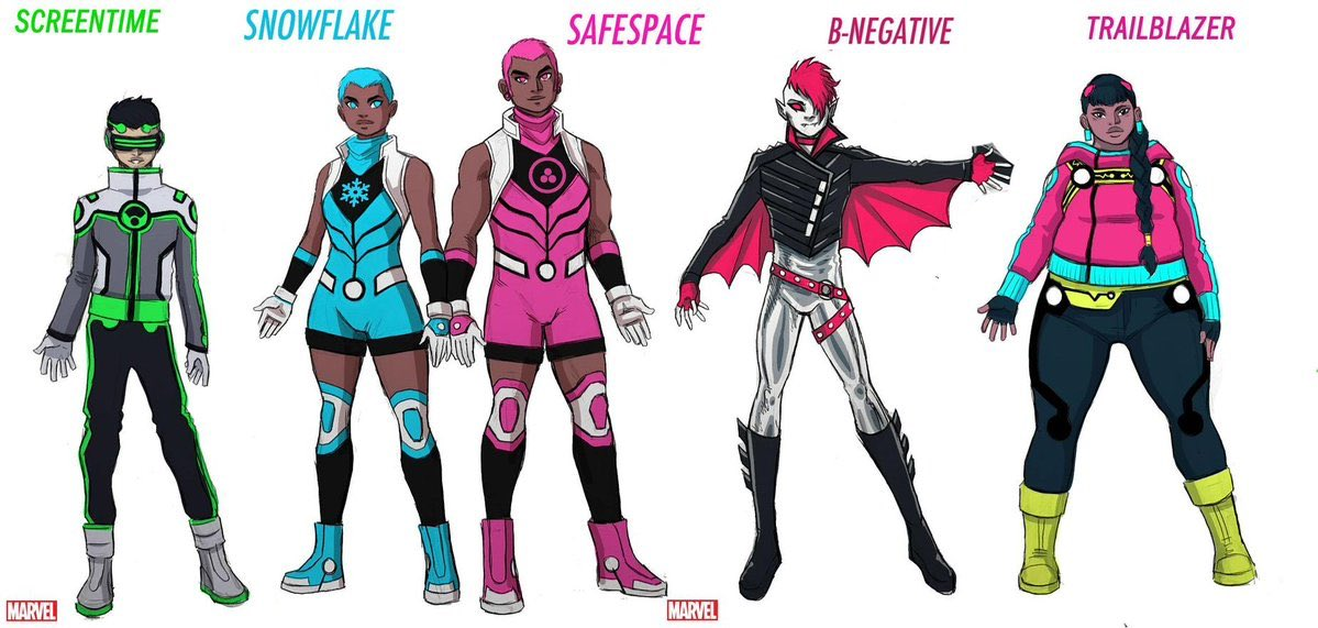 As mentioned during today's news, here are the new heroes set to appear in the #newwarriors comic! Including the controversial #snowflake and #safespace , two new non-binary superheroes  #trailblazer #screentime #bnegative #marvel #comics #newcomics<br>http://pic.twitter.com/9TvgEX7YR5