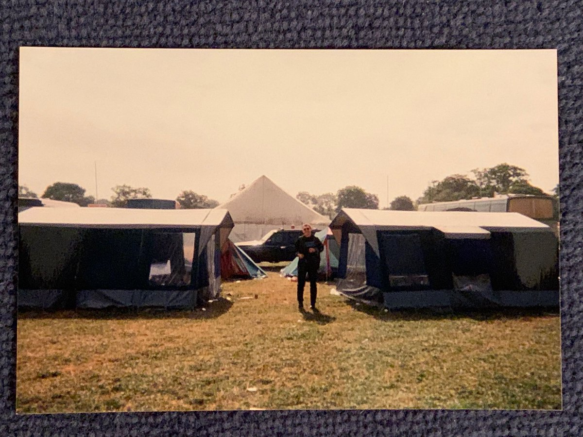 We couldn't find any accommodation nearby so our tour manager went out and bought tents and sleeping bags. We arrived the days before our show and spent two nights camping backstage. I still have my sleeping bag. This is Nick's brother standing guard …#timstwitterlisteningparty https://t.co/kLramMjiNF